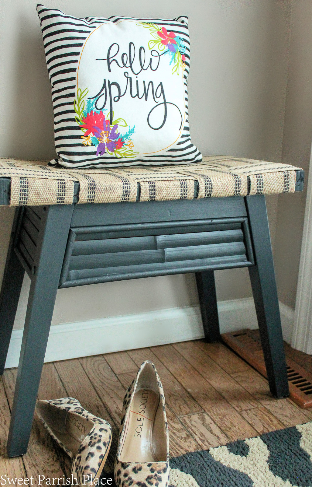 DIY bench makeover with jute webbing and painted base