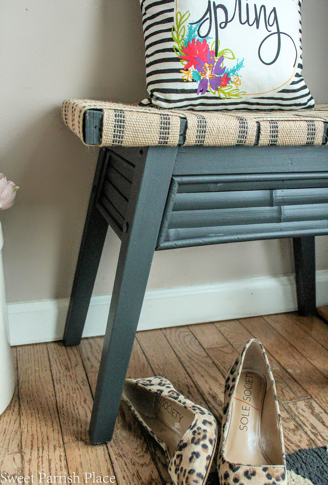 DIY bench makeover base painted iron ore