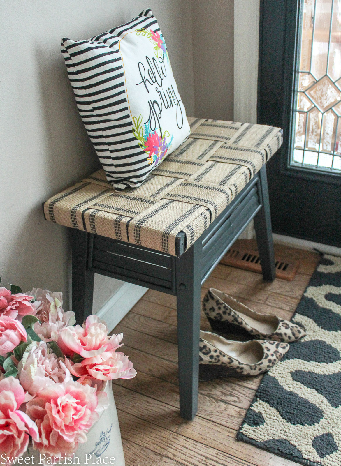 DIY bench makeover angled view