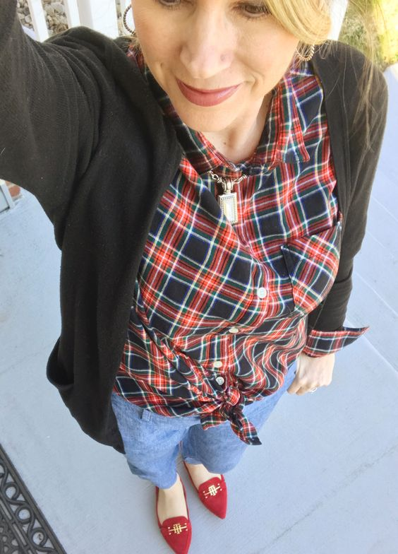 plaid top and red Tommy Hilfiger flats