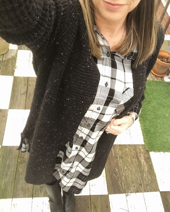 plaid swing-shirt-dress-long-cardigan