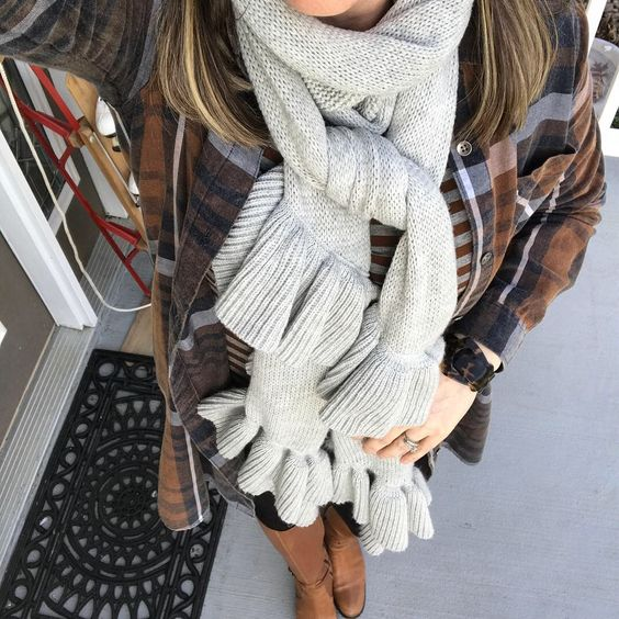 plaid-shirt-dress-with-grey-ruffle-scarf