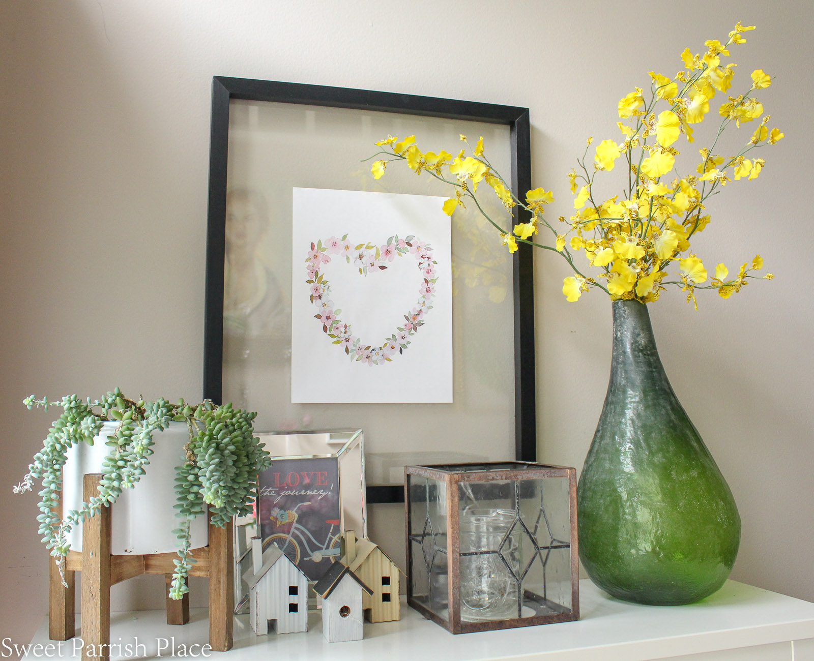 2019 Spring Entryway yellow forsythia in green bottle