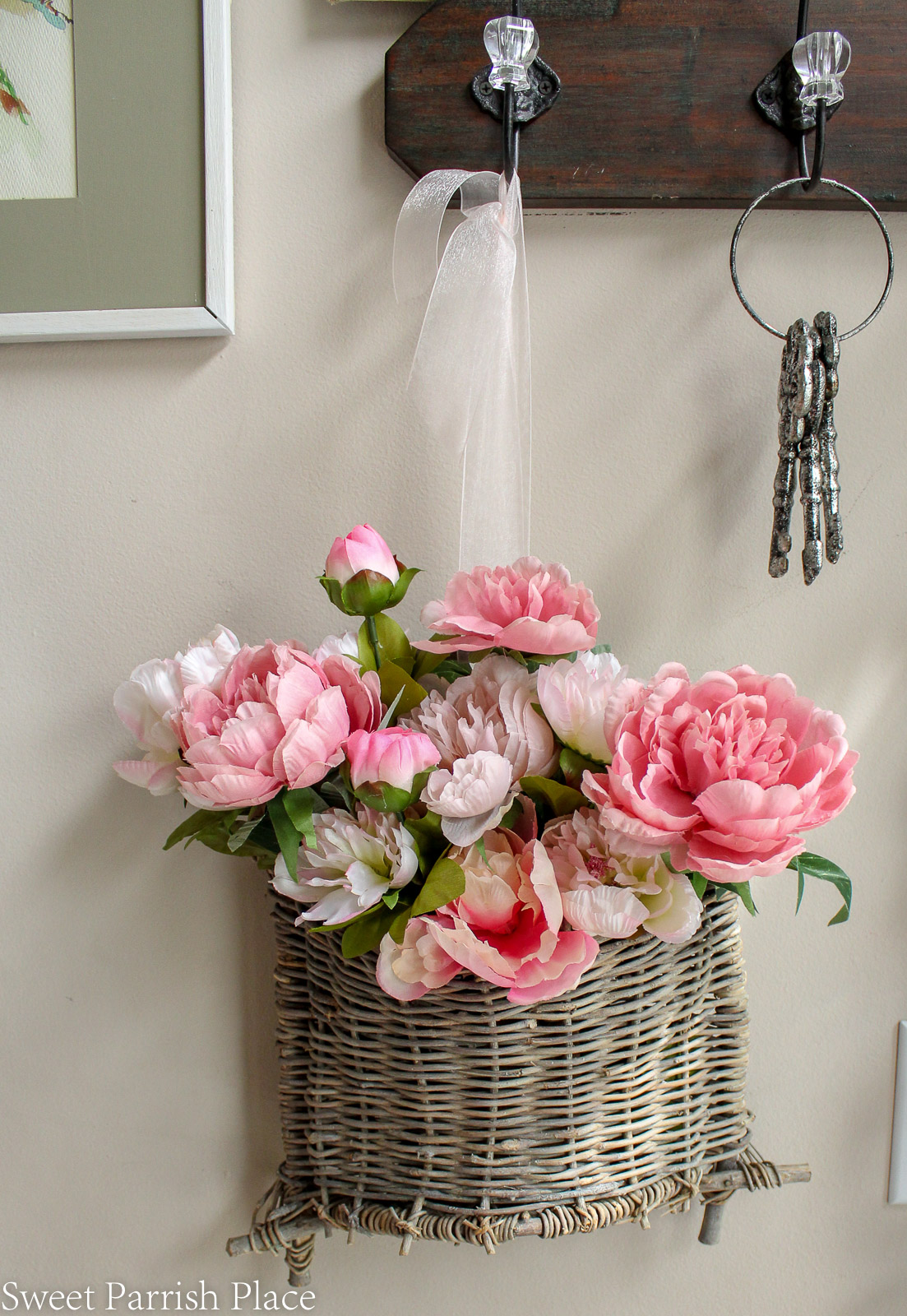 2019 Spring Entryway twig basket with pink peonies