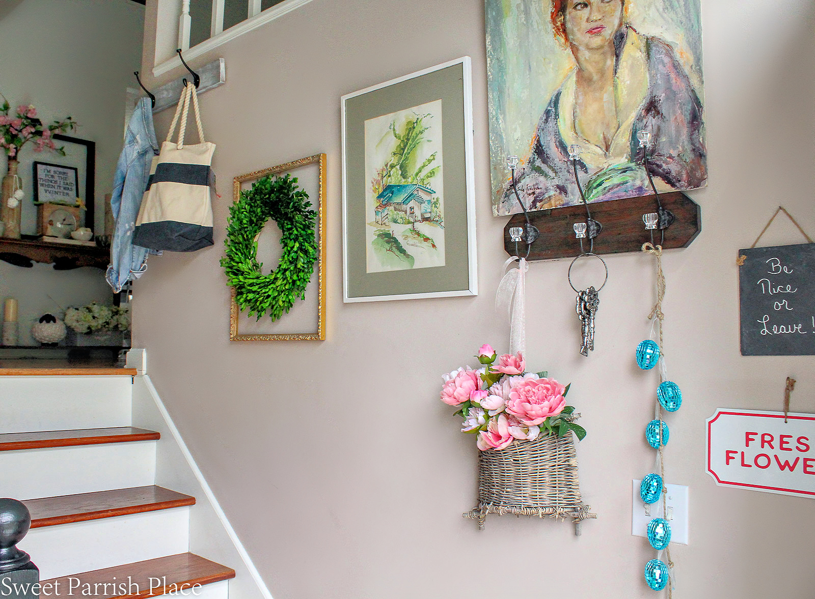 2019 Spring Entryway gallery wall going up the stairs