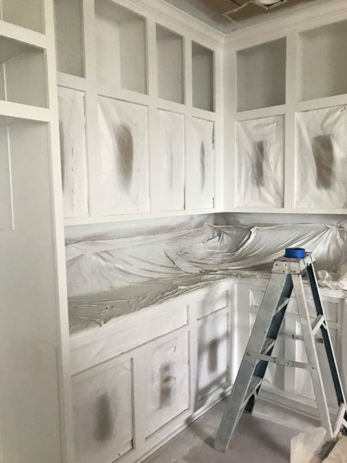white painted cabinets in progress
