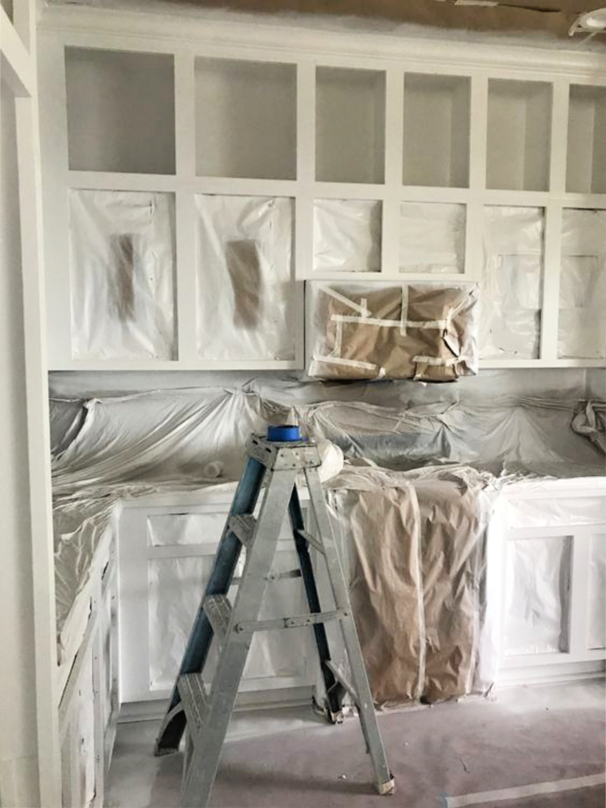 white painted cabinets progress