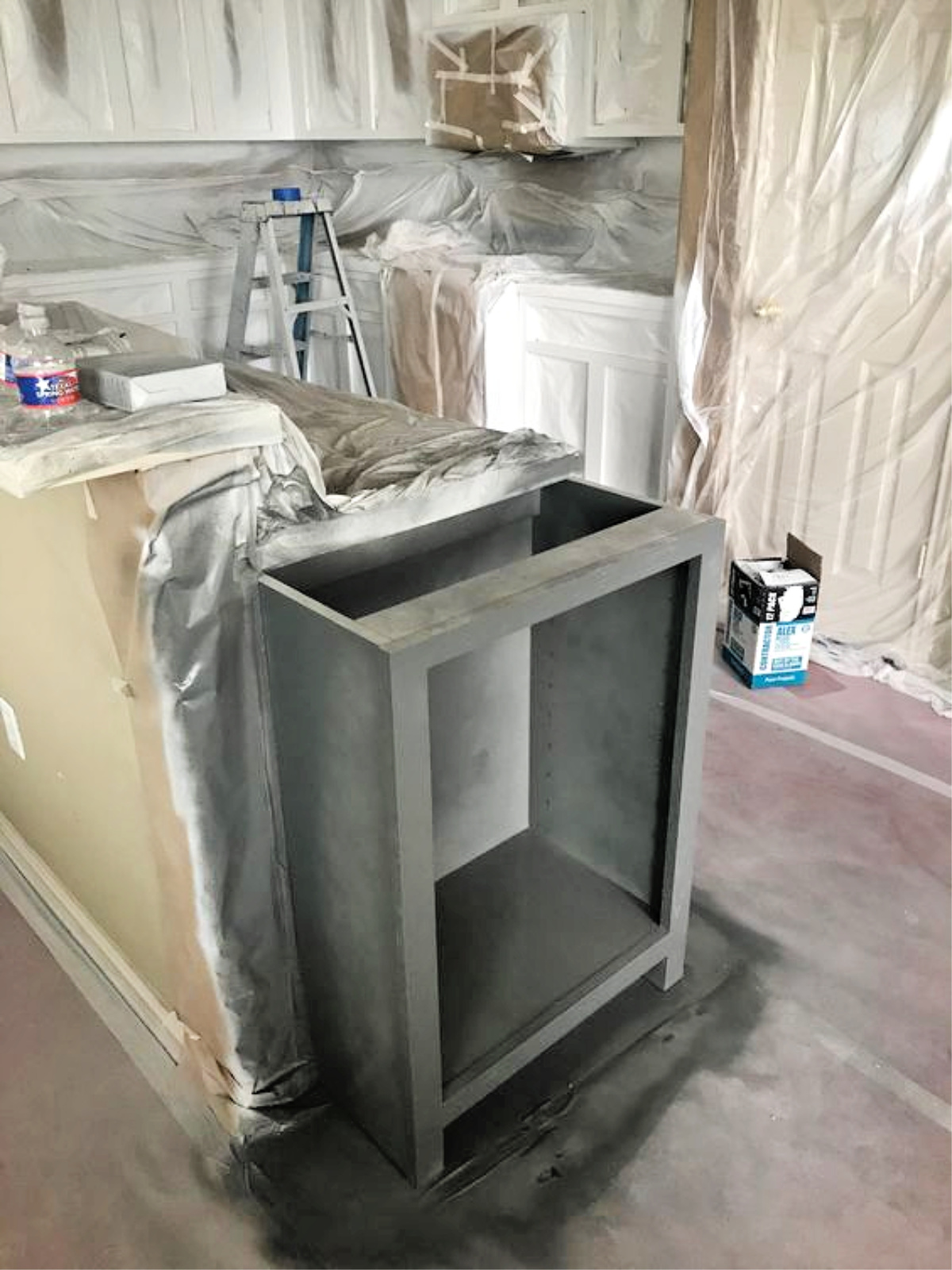 progress with painting kitchen cabinets