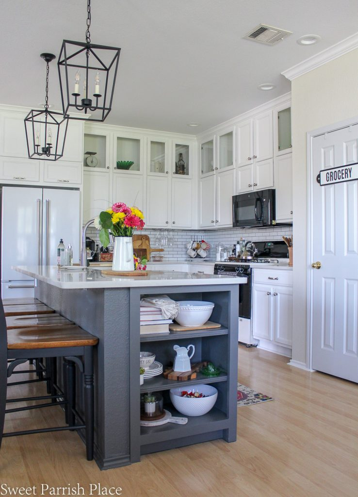 white kitchen after One year in our Texas house