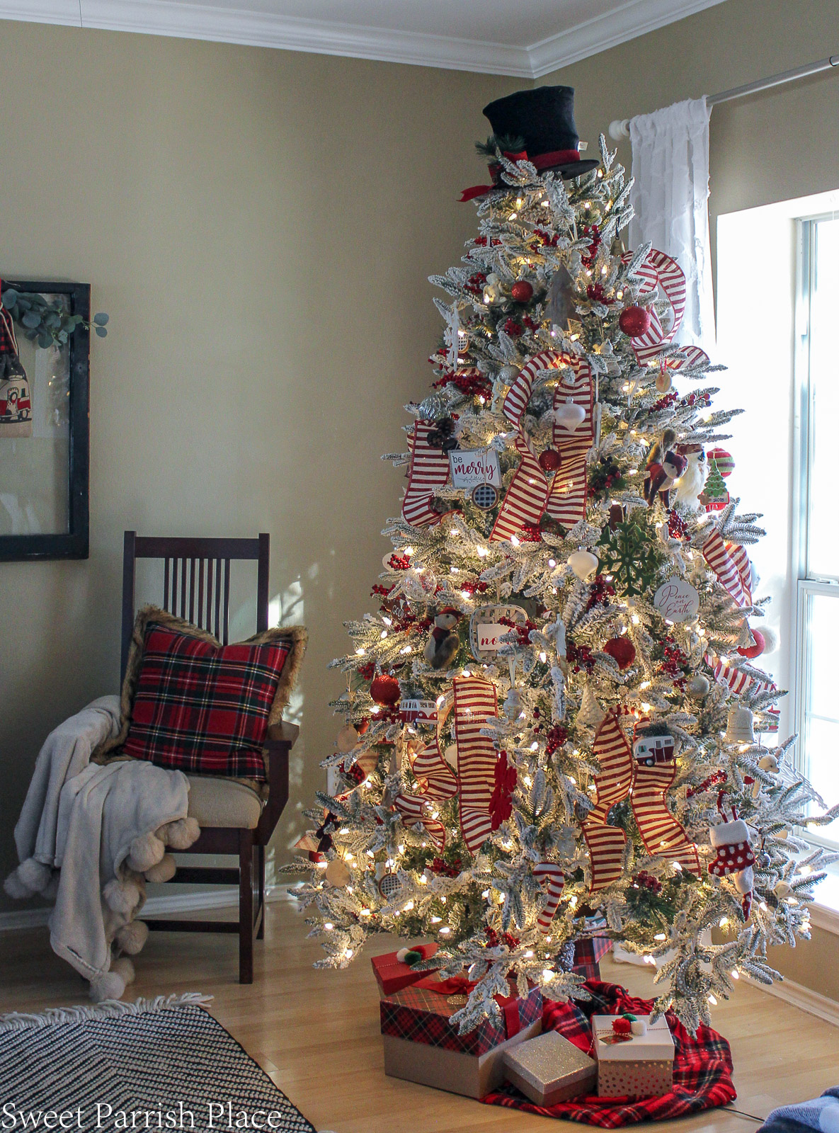 prairie house christmas tree with chair in background