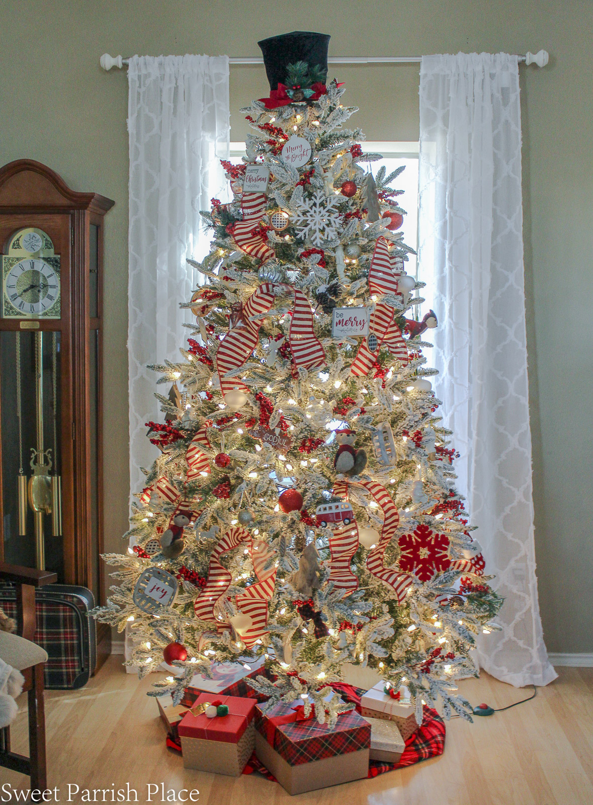 prairie house christmas tree in front of window