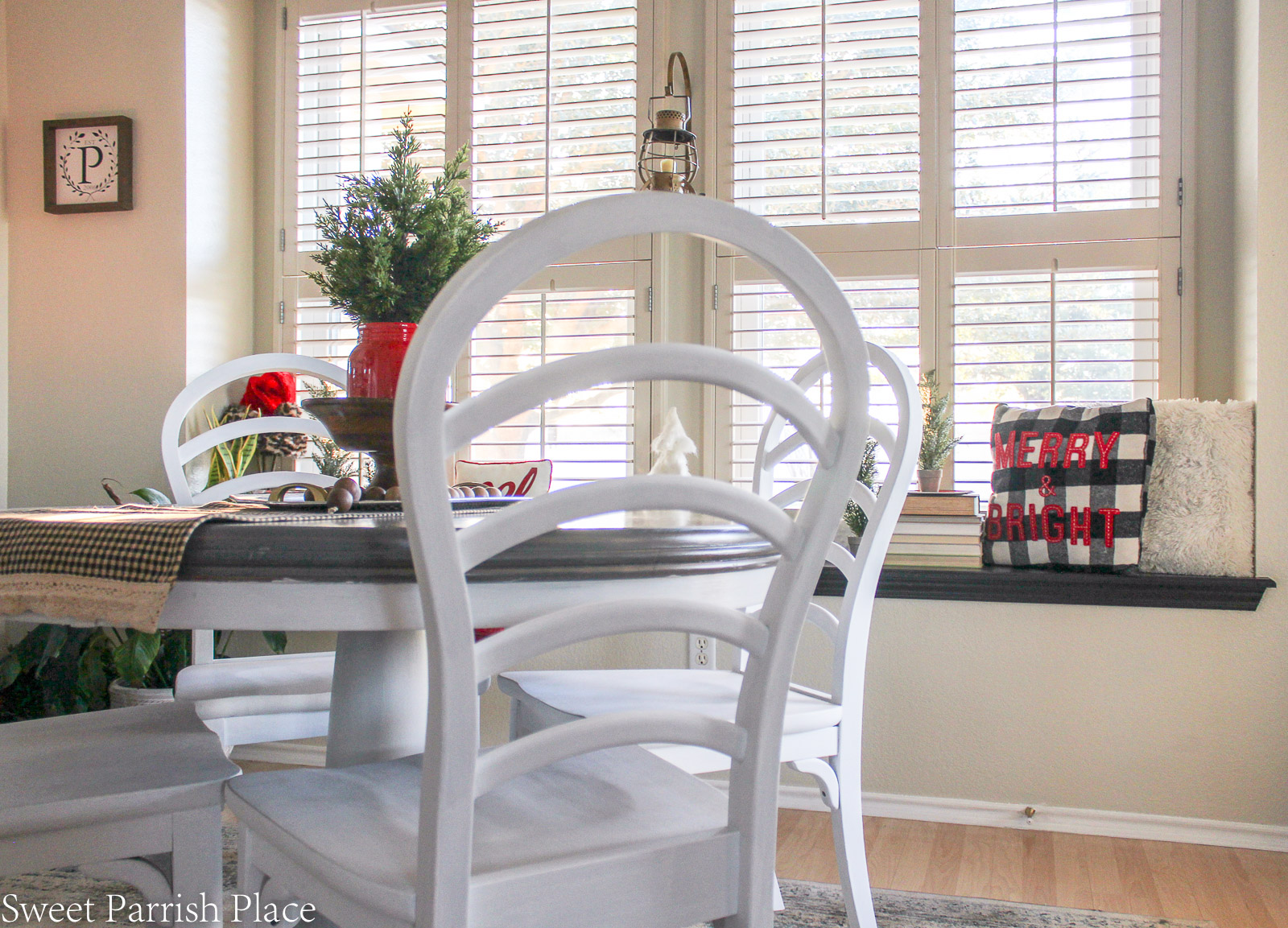 traditional Christmas breakfast room table and chairs