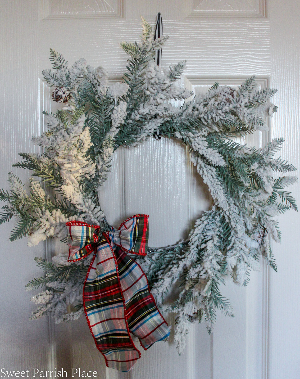 traditional Christmas breakfast room flocked wreath