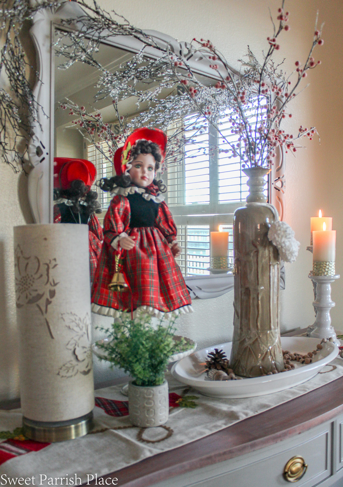 traditional Christmas breakfast room with vintage porcelain doll