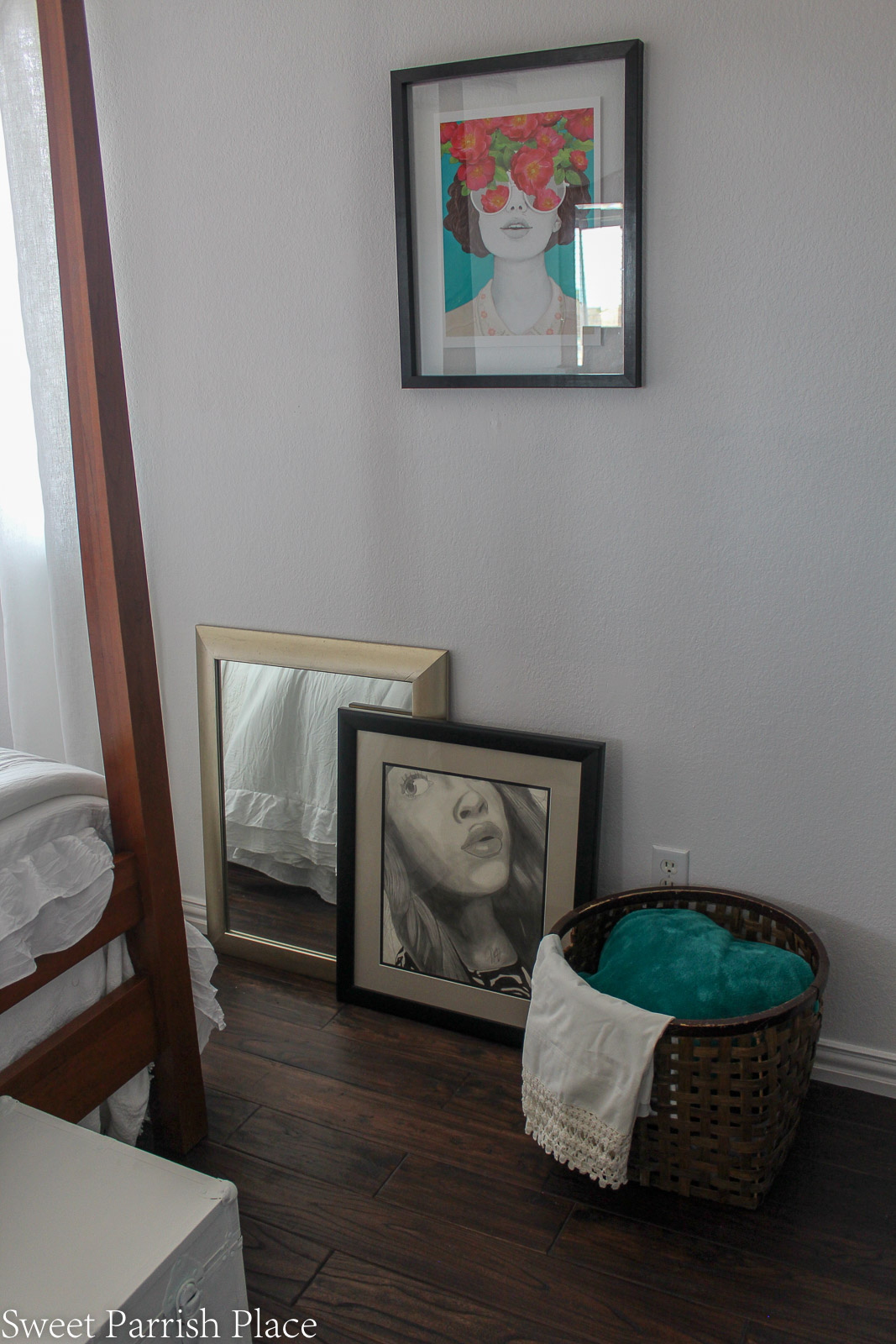 Guest Bedroom Reveal pencil drawing