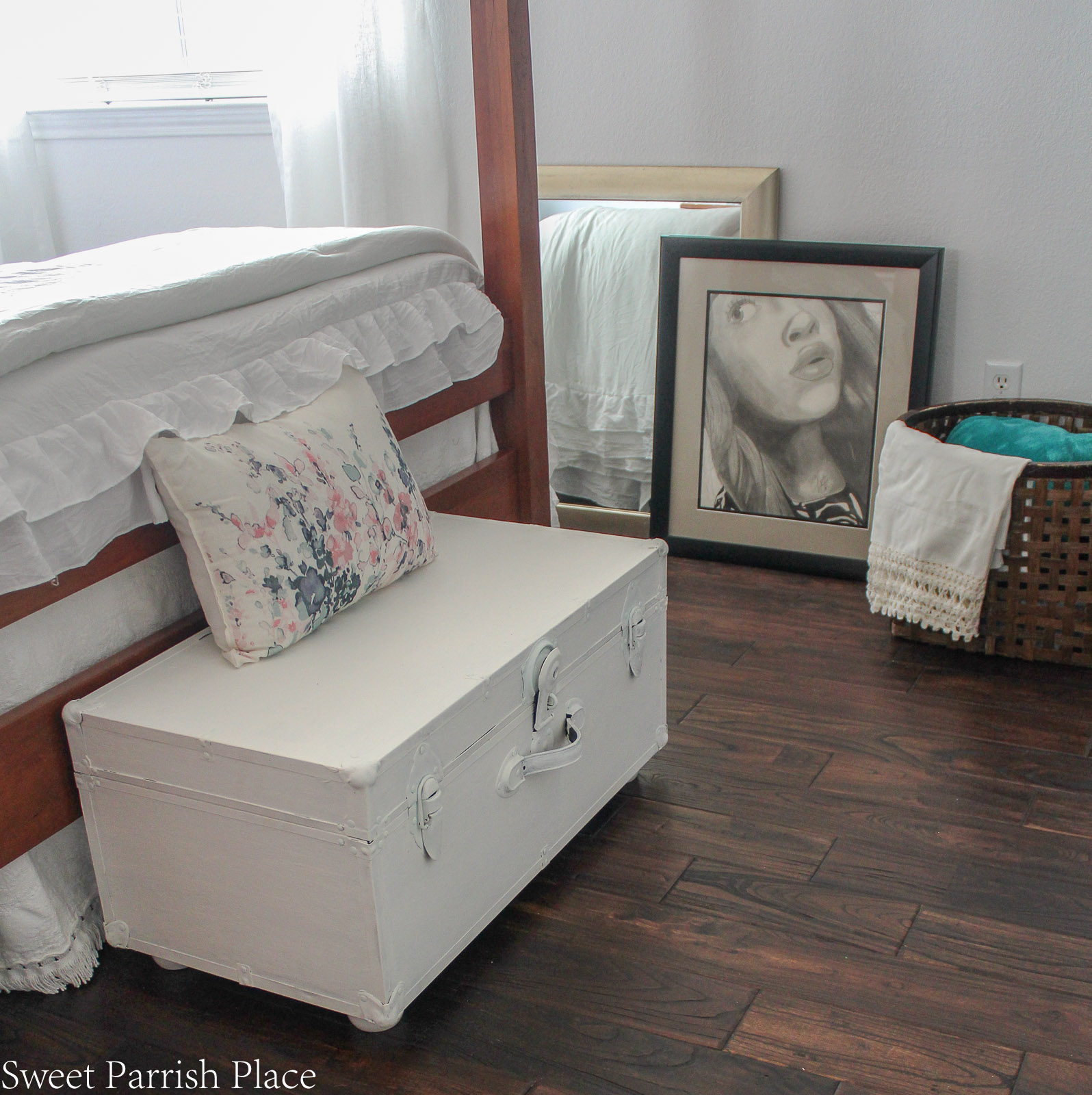 Guest Bedroom Reveal vintage trunk
