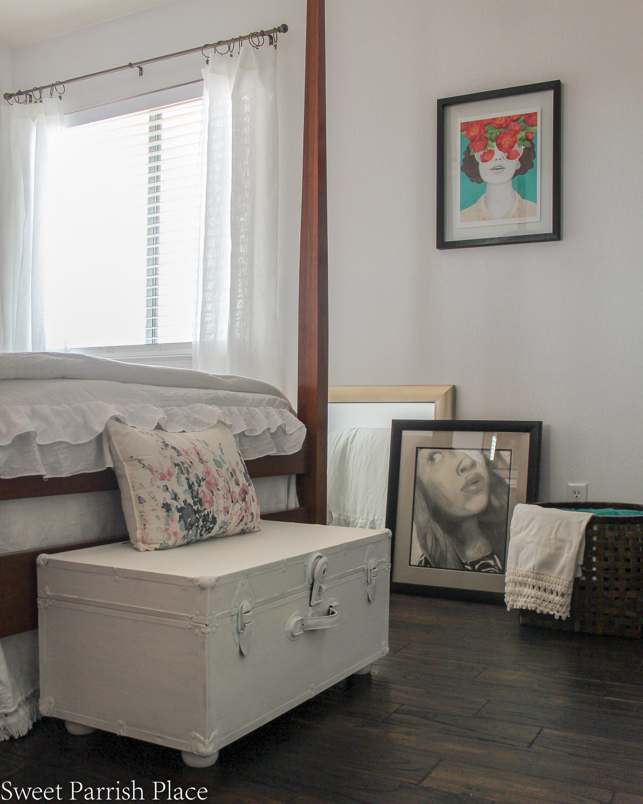 Guest Bedroom Reveal vintage steamer trunk