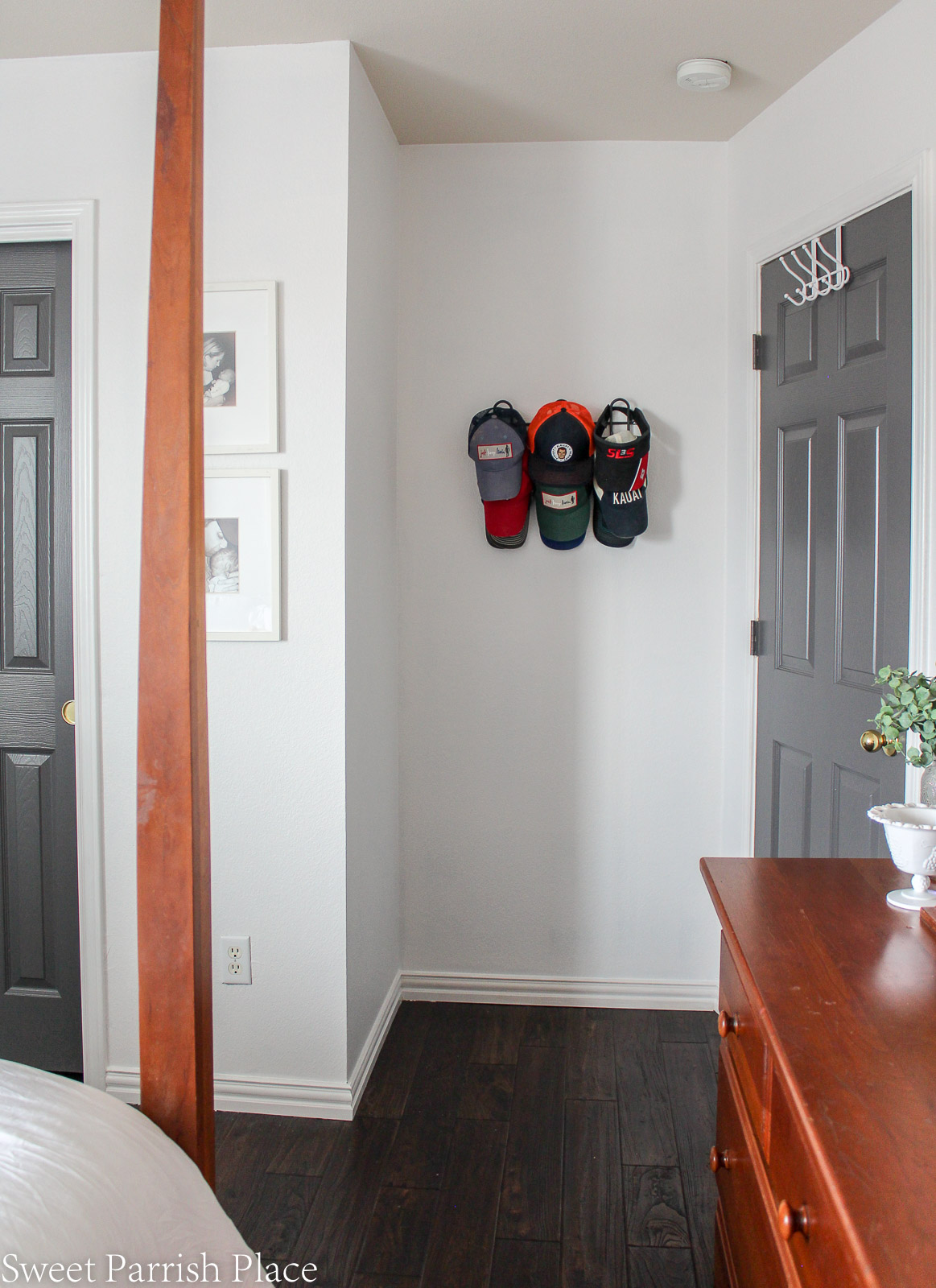 Guest Bedroom Reveal organized baseball caps