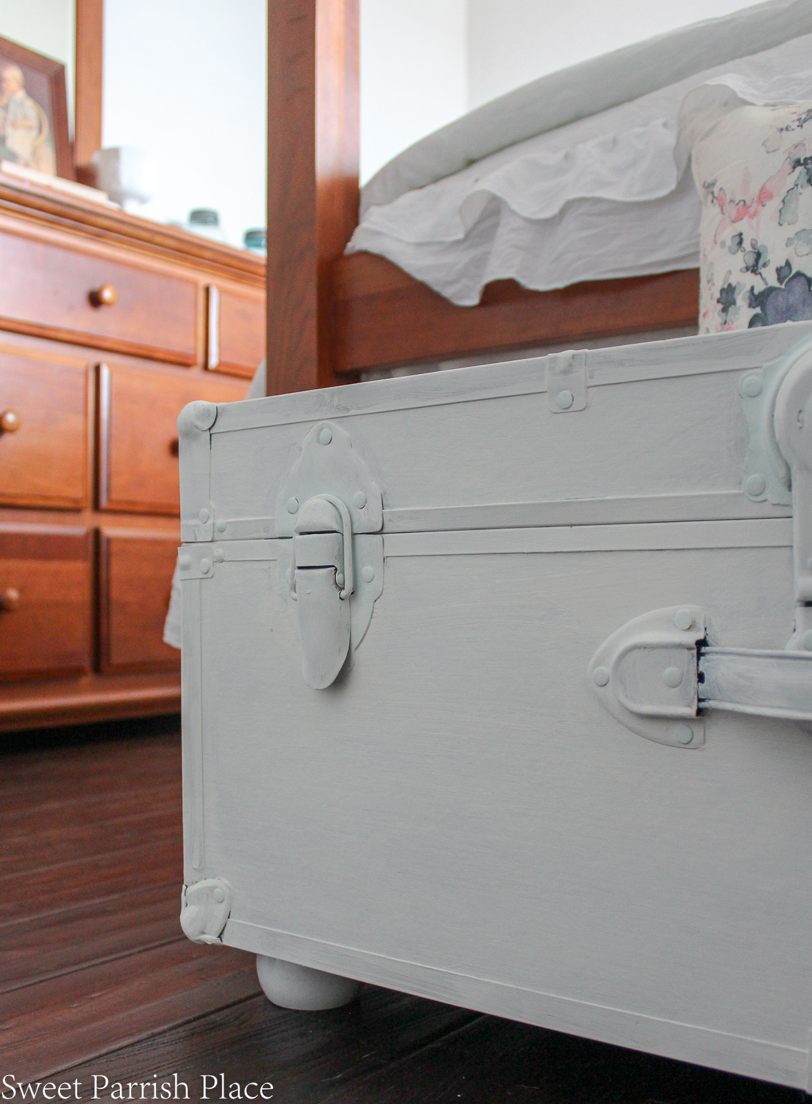 Guest Bedroom Reveal vintage painted trunk