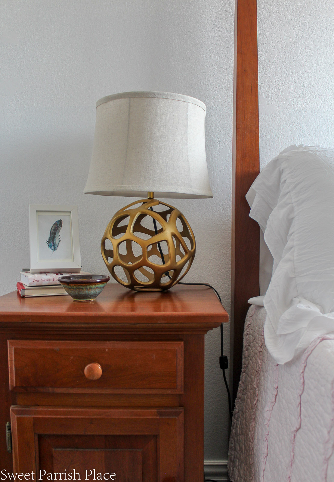 Guest Bedroom Reveal gold lamp