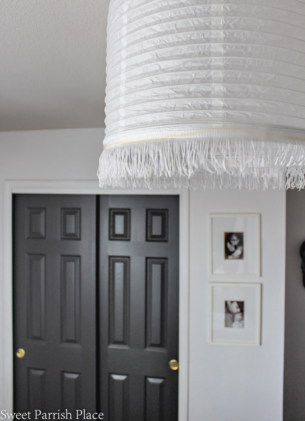 Guest Bedroom Reveal paper lanter ceiling light
