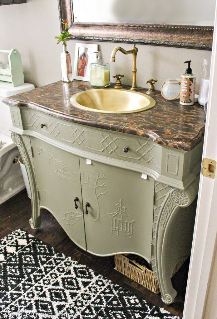 mossy bank painted bathroom vanity
