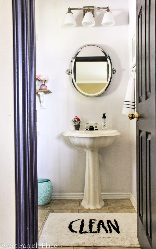 pottery barn mirror and pedestal sink