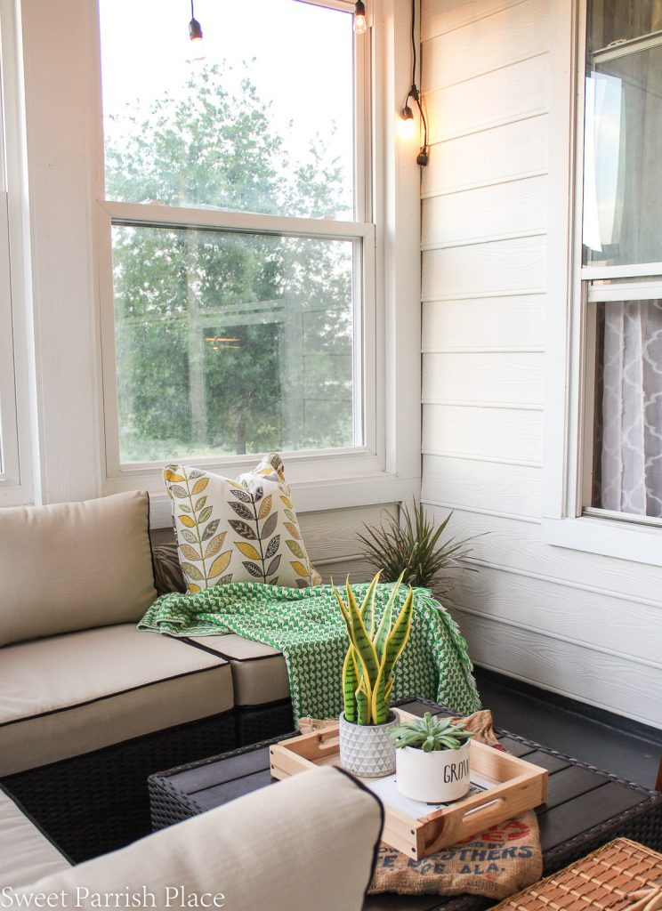 bistro white walls in modern farmhouse sunroom makeover