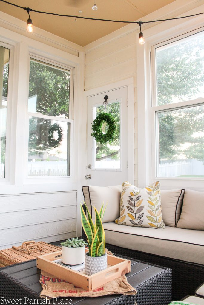 Sunroom view of exterior door