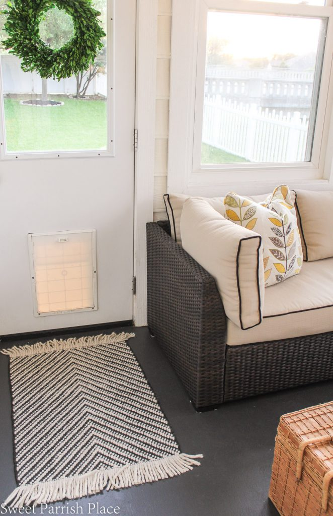 Entry rug in modern farmhouse sunroom