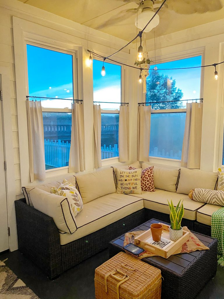 sunroom with drop cloth  DIY One year in our Texas house