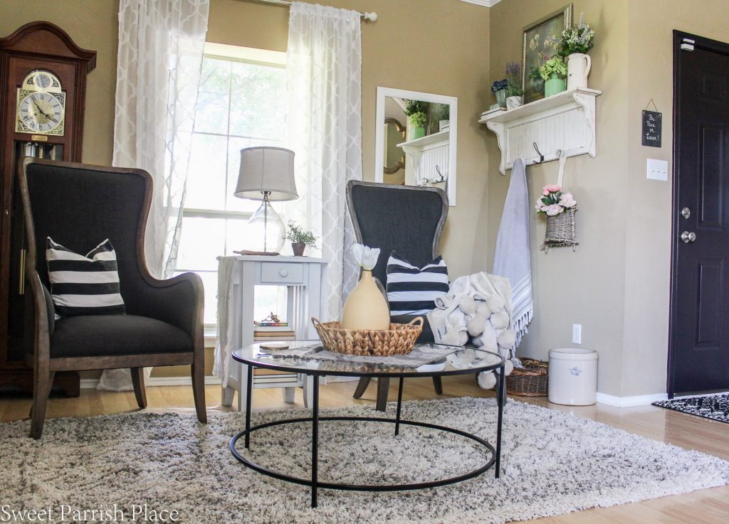 wingback chairs from Kirkland's One year in our Texas house