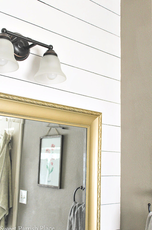 Sharpie Shiplap on Textured Walls with gold mirror