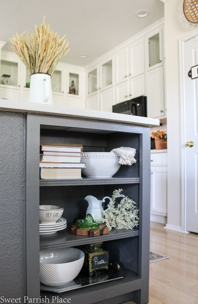 kitchen island shelves styled for fall
