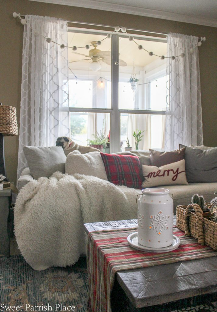 cozy and casual Christmas tour- sofa in front of window