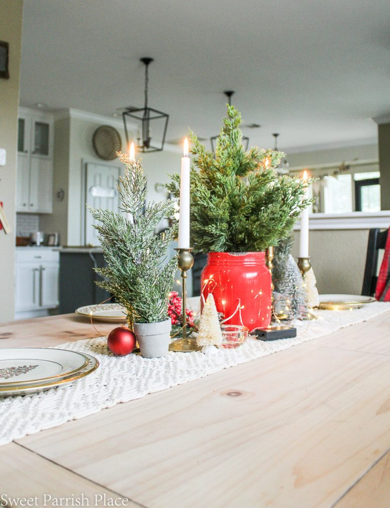 Dining table centerpieceCasual and cozy Christmas Tour