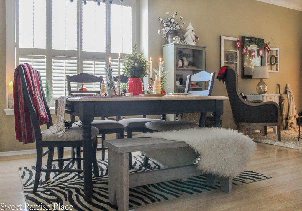 farmhouse dining table with bench Casual and cozy Christmas Tour