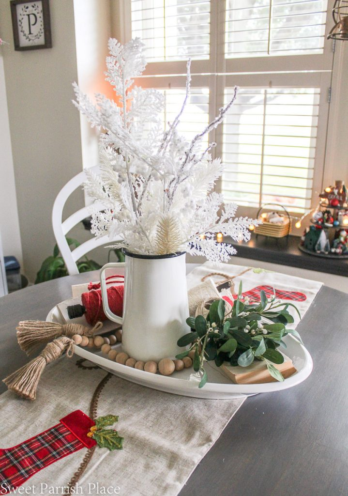 cozy and casual Christmas tour breakfast room table decor