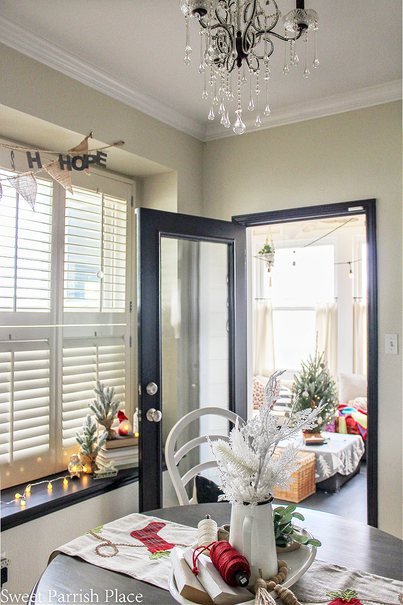 cozy and casual Christmas tour- view into sunroom